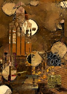 Like burnt umber background and overlapping images Mixed Media Collage, Collage Art, Collages, Encaustic Art, Art Techniques, Art Forms, Creative Art, Art Sketches, Abstract Art