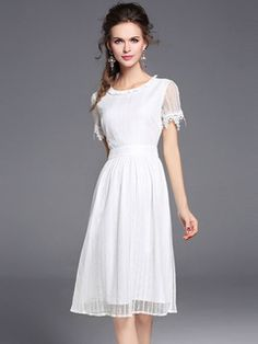 Cheap dress for, Buy Quality ladies party dress directly from China white midi dress Suppliers: 2017 Summer Casual Ladies Party Dresses Short Sleeve A-Line Mesh Lace Elegant Ruffle Dress Bodycon White Midi Dress for Women Party Dresses For Women, Cheap Dresses, Designer Fans, Flare, Dresser, Robes Midi, Girly, White Midi Dress, Ruffle Dress