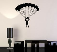 Wall Vinyl Art Sticker Skydiving Skydiver Parachute Sport Jumping from Airplanes (ig3445)