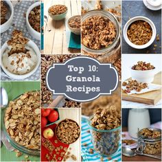 ten delicious granola recipe ideas! Granola is easier than you would think to make and these recipes are each unique, flavorful and healthy. Granola is great for parfaits and as a substitute for store bought cereal.