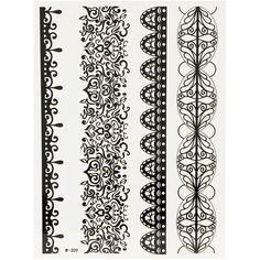 Yoins Henna Black Lace Flower Bracelet Temporary Body Tattoo Sticker ($4.06) ❤ liked on Polyvore featuring accessories, body art and black