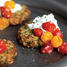 Zucchini Cakes Recipe with Herbed Goat Cheese and Roasted Tomatoes - Real Food - MOTHER EARTH NEWS