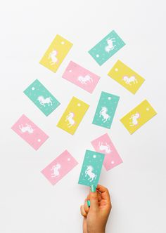 """Unicorn Tag Printables from Oh Happy Day.These Unicorn Tag Printables make cute tags for all kinds of gifts. Download the unicorn tags in 3 colors on cardstock. Did you know if you typed in """"Scotland..."""