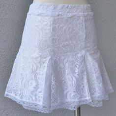 Romantic  White Lace Mini Skirt Spring Summer by Chuletindesigns, $60.00
