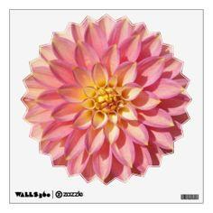 Big Pink Dahlia Decorative Wall Decal #flowers #floral #dahlias #walldecor #walldecorations