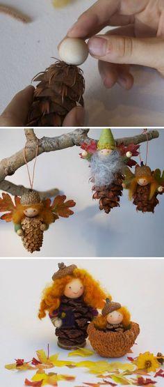 Pinecone Fairy Ornament. Dennenappel