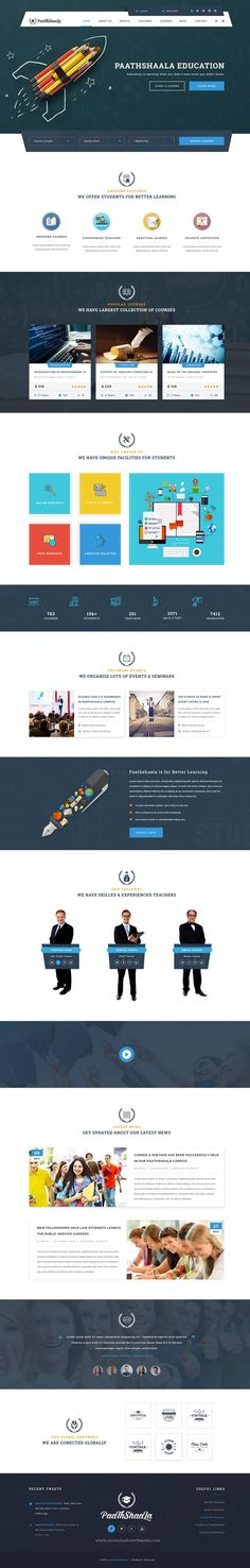 Paathshaala – Education & Courses PSD Template is a uniquely designed Template with a flat & modern look specially for #educational purposes. This #template has totally 11 pixel perfect #PSD files which have endless possibilities.