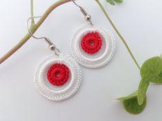 Hoop earring Crochet earring Crochet jewelry Tiny by GuruMIme, $8.00