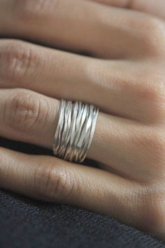 Handmade Hammered Silver Wire 98% silver ring size 6-7. $2985 via Etsy.