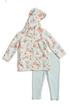 Stem+Baby+Organic+Cotton+Hooded+Tunic+&+Stripe+Leggings+(Baby+Girls)+available+at+#Nordstrom