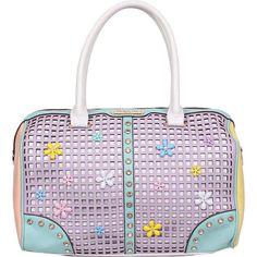 Nicole Lee Selina Floral Pastel Boston Bag Satchel ($92) ❤ liked on Polyvore featuring bags, handbags, manmade handbags, purple, satchel purse, nicole lee handbags, satchel handbags, hand bags y white satchel handbags