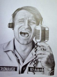 """Adrian Cronauer as portrayed by Robin Williams in """"Good Morning Vietnam.""""  Cronauer was born in the burgh, attended Pitt, was drafted and ended up on Armed Services Radio in Saigon in the mid 60s. Credited with keeping troops entertained during his regular morning radio show, """"Dawn Busters."""""""