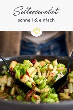 Die Vitaminbombe für deinen veganen Feierabend: Knackiger Selleriesalat mit Apfel, Birne, Weitrauben und Cashewkernen! Clean Eating, Healthy Eating, Healthy Salad Recipes, Fall Recipes, Asparagus, Potato Salad, Feel Good, Vegan, Low Carb