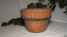 Shop for on Etsy, the place to express your creativity through the buying and selling of handmade and vintage goods. Mosaic Planters, Mosaic Flower Pots, Planter Pots, Mosaic Bottles, Terracotta Pots, Clay Pots, Stained Glass, Projects To Try, Mosaics