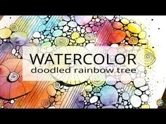 watercolor and rainbow tree doodles Abstract Watercolor Tutorial, Watercolor Trees, Easy Watercolor, Watercolour Tutorials, Watercolor Paper, Watercolor Paintings, Watercolours, Doodle Paint, Ink Doodles