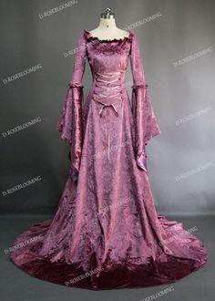 - Purple Velvet Medieval Dress Medieval Velvet Dress Purple / www. Moda Medieval, Medieval Gown, Medieval Costume, Renaissance Clothing, Medieval Fashion, Renaissance Costume, Purple Velvet Dress, Fantasy Gowns, Fantasy Outfits