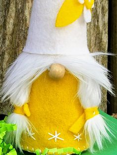 Astrid is has a bright yellow body with a tall white hat. Meaning divine strength, the name Astrid has been used by Norways royal families for centuries. Each gnome is about 12 inches tall and each is unique with slight variations due to being 100% handmade. These adorable Nisse- or
