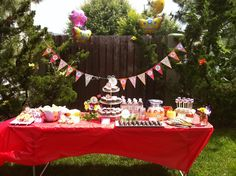 garden party goodies table