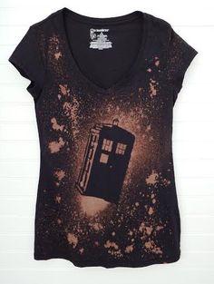 Doctor Who Shirt - Tardis Shirt - Women's Small/Medium Bleached V-Neck Tee by TheFacelessWomen on Etsy https://www.etsy.com/listing/243637045/doctor-who-shirt-tardis-shirt-womens