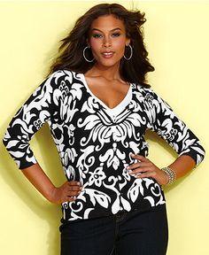 INC International Concepts Plus Size Cardigan, Three-Quarter-Sleeve Block-Print - Women - Macys