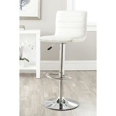 @Overstock.com - Safavieh Arissa White Adjustable Height Swivel Bar Stool - Designed for maximum support and style, the high back of the Arissa Barstool is perfect for contemporary and transitional interiors. Constructed with chrome and white faux leather, its design ensures durability doesnt take a back seat.  http://www.overstock.com/Home-Garden/Safavieh-Arissa-White-Adjustable-Height-Swivel-Bar-Stool/7870024/product.html?CID=214117 $99.99