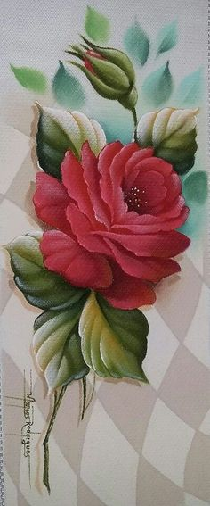 Vhj Painting The Roses Red, One Stroke Painting, Tole Painting, Fabric Painting, Flower Images, Flower Art, Donna Dewberry Painting, 3d Art, Hand Embroidery Flowers