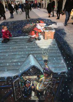 santa clause 50 More Breathtaking 3d Street Art (paintings)