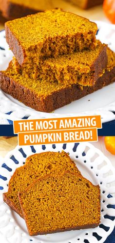 The Best Pumpkin Bread Recipe! Moist, full of pumpkin and spice and the perfect … The Best Pumpkin Bread Recipe! Moist, full of pumpkin and spice and the perfect fall treat! Easy Bread Recipes, Cooking Recipes, Pumpkin Recipes Easy Quick, Pancake Recipes, Healthy Pumpkin, Best Pumpkin Bread Recipe, Cupcakes, How To Make Bread, Perfect Food
