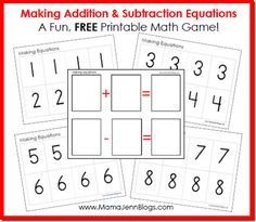 Addition & Subtraction Equations Math Game (free)