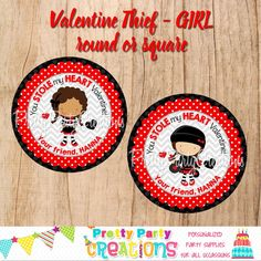 This listing is for VALENTINE THIEF (GIRL) favour tags/stickers. This is a digital file that you print yourself and will be sent to you in PDF format. Diy Party, Party Ideas, Handmade Items, Handmade Gifts, Perfect Party, Favor Tags, All Design, Party Invitations, Party Supplies