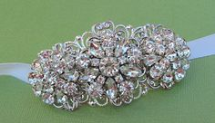 Bridal Headband, Hair Jewelry, Wedding hair Accessories, Ribbon Headband,  Rhinestone Vintage Head Piece,. $35.00, via Etsy.