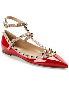 """Valentino """"Rockstud"""" Patent Leather Cage Flat is on Rue. Shop it now."""