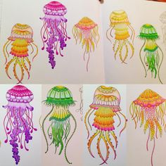 """""""A whole big family of jellyfish!  #johannabasford #lostocean #underwater #world #jellyfish #finished #Sunday #colour #color #colouring #adultcolouring…"""""""