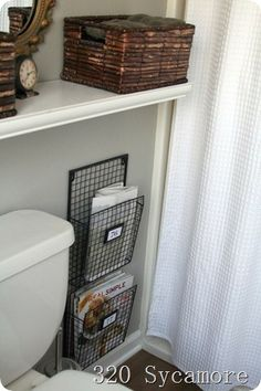 possibly hang a magazine rack in the downstairs bathroom for hubby!