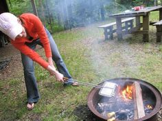Regardless of what you call it, a Mountain, Hobo, or a Pudgy Pie Maker, it's an essential part of camp or picnic cooking--especially with so many recipe options.  Perfect for every meal. Simple & fun! Backpacking Food, Camping Survival, Camping Meals, Camping Hacks, Camping Food Pie Iron, Mountain Pies, Pudgy Pie, Pie Iron Recipes, Fire Pit Cooking