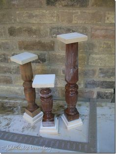 DIY pillar holders...I think instead of using square mdf as shown, I'll hot-glue terra cotta planter bases on these.