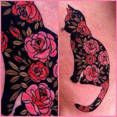 Floral cat tattoo. Cattoo. I need dis.