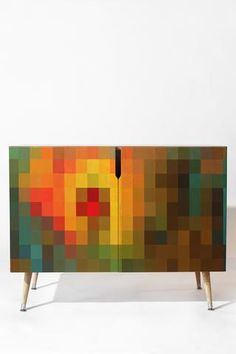 Buy Credenza with Glorious Colors designed by Madart Inc. One of many amazing home décor accessories items available at Deny Designs. Retro Furniture Makeover, Funky Furniture, Colorful Furniture, Painted Furniture, Furniture Design, Furniture Ideas, Entryway Cabinet, Wood Storage, Hidden Storage
