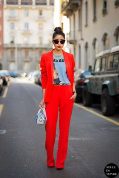 Denni Elias Red on Red | Milan Street Style #HelloRed #HelloColor