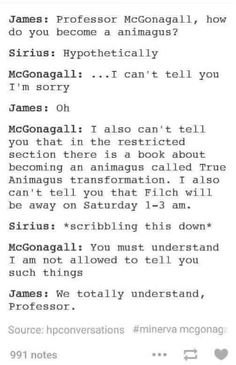 The Marauders Asking McGonagall how to Become an Animagus<<I teared up while smiling at this☺️