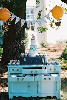 Those hot air balloon decorations are over the top cute without being distracting. See the details here, including an additional dessert table, photographed by Elisa Bricker and designed by Eye Candy C'ville. Wedding Desserts, Wedding Decorations, Balloon Decorations, Rustic Wedding, Our Wedding, Wedding Ideas, Wedding Vintage, Wedding Planning, Vintage Dessert Tables