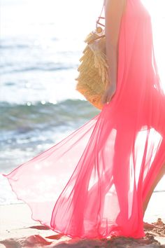 Neon Pink Halter Maxi Dress ♡