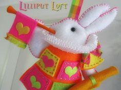 Nursery Mobile White Rabbit in court pale pink by lilliputloft