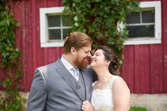 Bride and Groom sharing a sweet loving moment at Hope Glen Farm Wedding