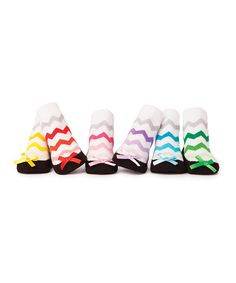 Look at this Trumpette Green & Pink Chevron Mikyla's Socks Set on #zulily today!