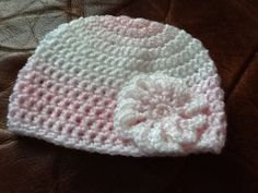 Handmade baby girls pink & white hat  Crochet by Happilyevercrafts, £4.50