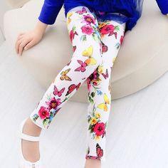 Girl's Flower Print Leggings-2