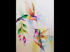 Watercolor Hummingbird, Hummingbird Art, Easy Watercolor, Watercolor Print, Watercolor Flowers, Humming Bird Watercolor, Watercolor Animals, Hummingbird Flower Tattoos, Watercolor Paper Texture