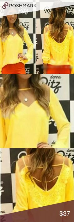 Yellow Chiffon Top Yellow Chiffon Top with an illusion panel on the front and strappy open back.   This is NWOT Retail Price Firm Unless Bundled.  Measurements Available Upon Request. Tops Blouses