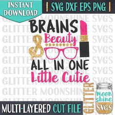 Brains and Beauty Little Cutie svg dxf eps png Files for Cutting Machines Cameo Cricut - Girly svg, Little Miss svg, Toddler svg, Baby svg Commercial Use